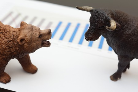 bear market: stock trading with bull and bear Stock Photo