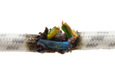 kortsluiting, verbrand kabel Stockfoto
