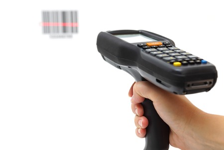 information systems: woman hold scanner and scans barcode with laser Stock Photo