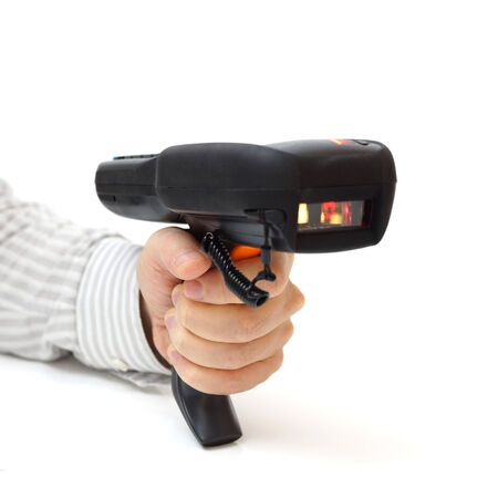 up code: man hold bar code scanner and scans  with laser Stock Photo