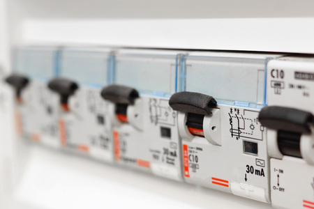 switchgear: Closeup view of a box with automatic fuses