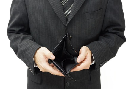 businessman shows empty wallet photo