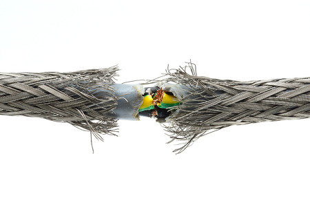inoperative: torn damaged power cable Stock Photo