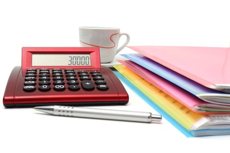 accounting concept with files, folders and calculator photo