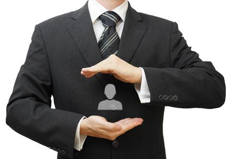 respeto: Concepto de recursos humanos managment con el empresario proteger empleado