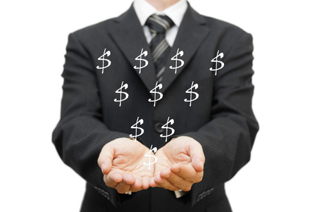 Charity concept  The open hands of businessman receiving dollar sign photo
