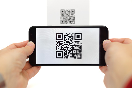 bar code: Scanning QR code with mobile smart phone