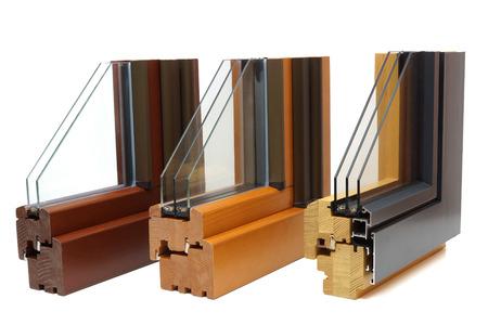 aluminum: wooden window profiles Stock Photo