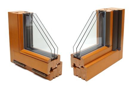 double cross: profili finestra in legno Archivio Fotografico