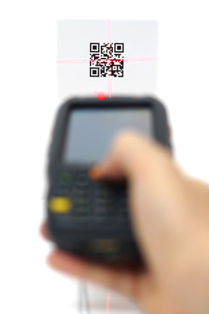 traceability: scanning quick response code  label  with laser isolated