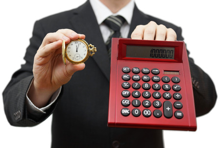 missed: time is money, dont be late  Businessman showing five after twelve and calculator Stock Photo
