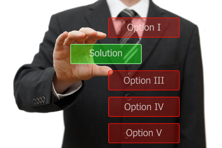 guess: solution concept, businessman choosing right solution Stock Photo
