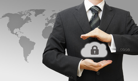 secure backup: Secured Online Cloud Computing Concept with Business Man protecting data