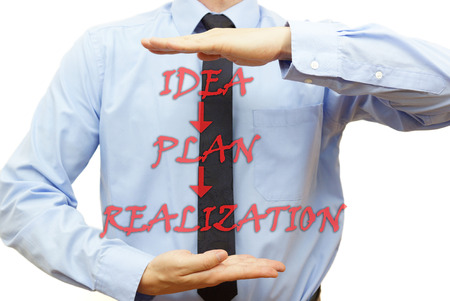 Businessman showing the way to finish plan   idea,plan,realization  photo