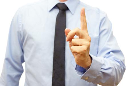 jefe enojado: Manager durante la reuni�n demuestra tener cuidado signo