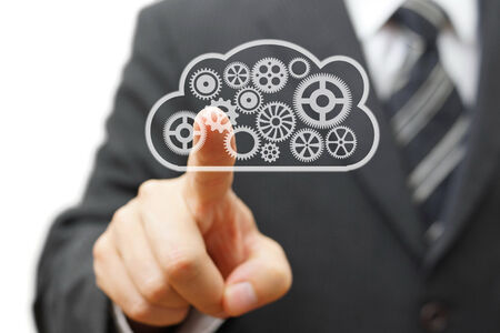 Finger Touch on running business in cloud photo