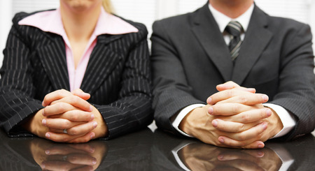 body language: Managers are interviewing candidate for job Stock Photo