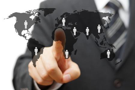 世界中のパートナーとグローバル市場の概念