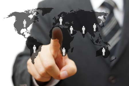 business networking: concept of global market with partners around the world