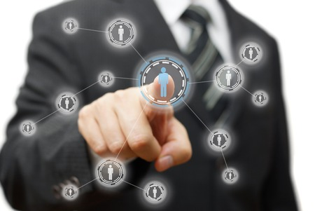 company director: Businessman pressing virtual button on  screen. network,community and social media concept