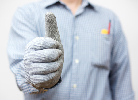 ok sign: Handyman showing thumbs up sign
