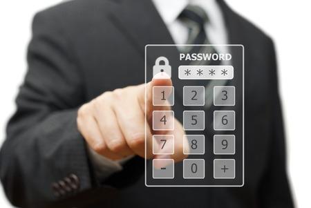 personal identity: empresario ventana de la interfaz autorizaci�n tocar con una contrase�a en una pantalla virtual Foto de archivo