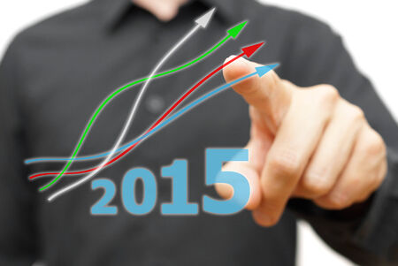 turns of the year: growing and positive trend in year 2015 Stock Photo