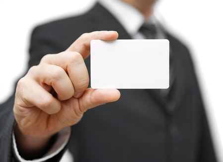 business card in hand: businessman hold business card , contact us concept Stock Photo