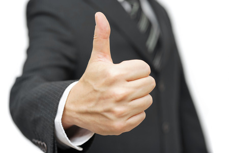 best hand: businessman with thumbs up