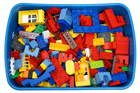 plastic made: box with many cubes and toys Stock Photo