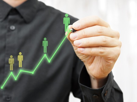 career person: concept of  Businessman career to the top of success