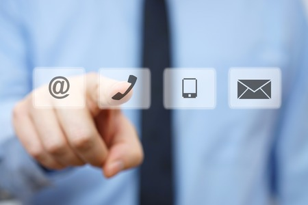 businessman pressing phone button, company identification icons Stockfoto