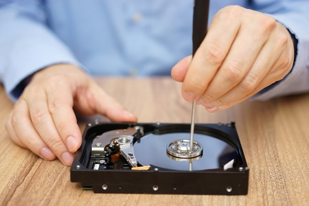 hard disk drive: Engineer is recovering lost data from failed hard disk drive