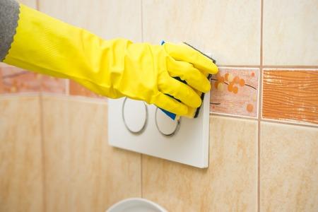 housemaid: Housemaid hand  is cleaning bathroom