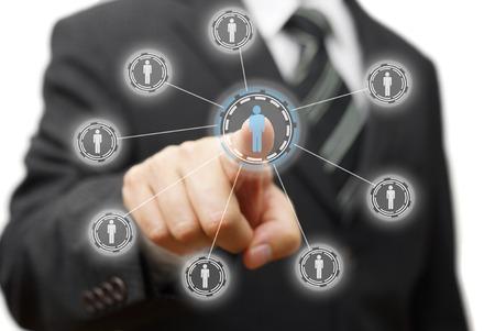gerente: empresario est� presionando persona virtual, concepto de gesti�n, dotaci�n de personal, marketing Foto de archivo