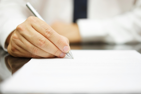 hand pen: signing contract Stock Photo