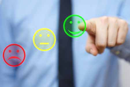 businessman choose  positive icon, concept of  satisfied customer