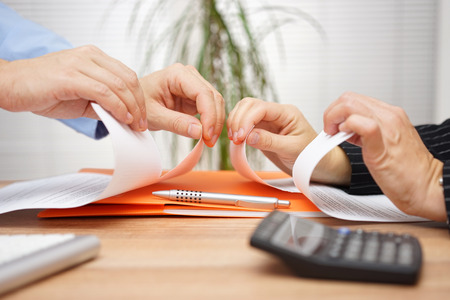 Business conflict, on  business meeting manager  and employee destroy  draft of document