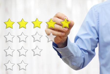 rating: businessman writing  five star rating