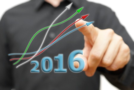 growing and positive trend in year 2016 Stock fotó