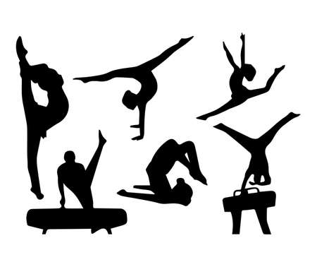 Set of vector illustrations of black people in ballet dance rehearsals