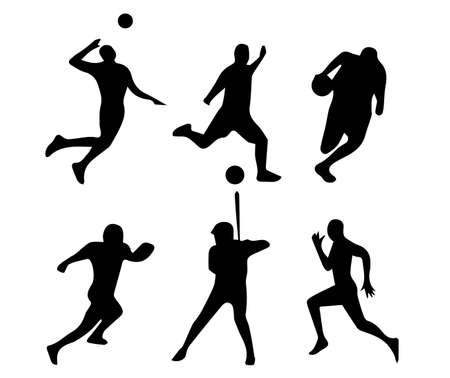 Set of vector illustrations of black people doing sports activities