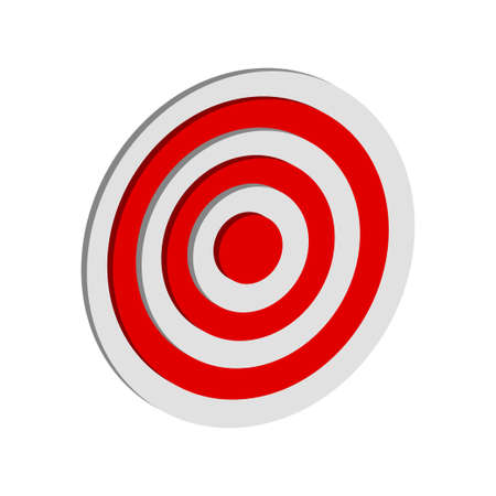 3d dartboard in red and white, suitable for business or gaming icons