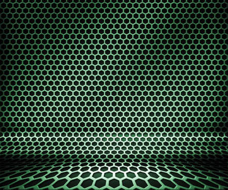 Green Metal Hex Grid Background
