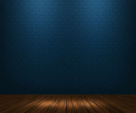 Blue Vintage Room Achtergrond Stockfoto