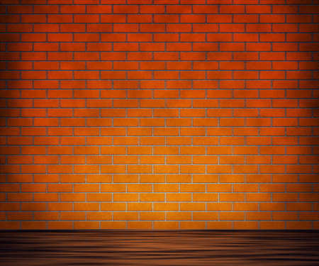 Brick Wall with Wooden Floor Background photo