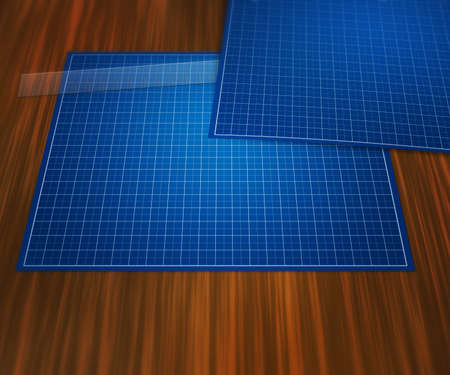 Blank Blueprint on Table Background photo