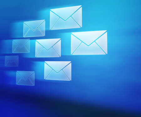 e mail: Blue E-mails Abstract Background Stock Photo
