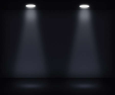 Dark Room with Two Spotlights Stock Photo