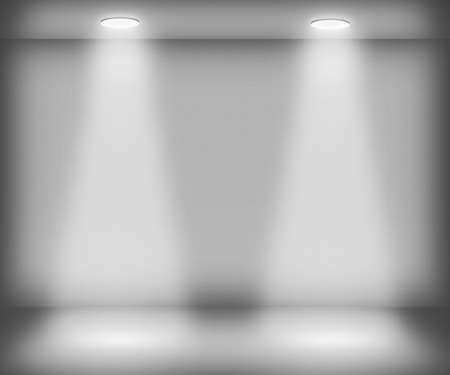 spotlight background: White Room with Two Spotlights Stock Photo